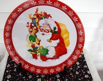 Vintage Giftco Santa metal tray, Hong Kong