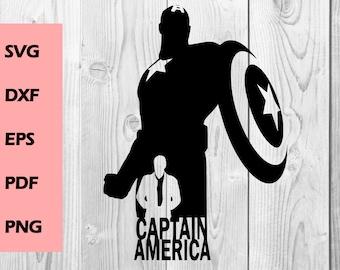 Captain america SVG Captain america Silhouette SVG cutting file, Printable, T-shirt Design, Scrapbooking Clipart