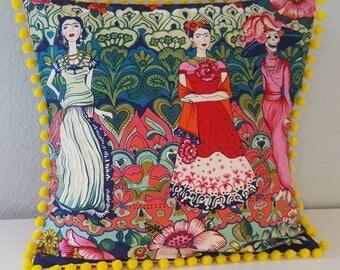 Frida Kahlo Flowers pillow, with pom-pom trim. Mexican artist. Premium quality. Large cushion cover.