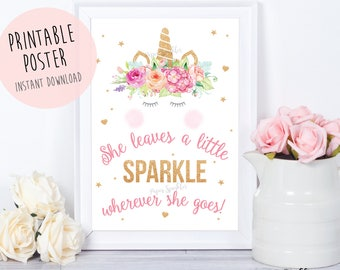 Unicorn printable sign,Unicorn party sign,Unicorn PartyUnicorn Birthday,Unicorn Party Sign, unicorn invitation, she leaves a little sparkle