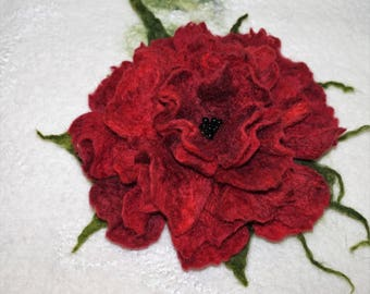 Felt flower red felting gift wool decoration handmade Merino Wool
