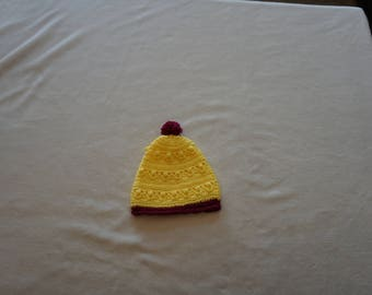 Yellow and Maroon Crocheted Baby Hat