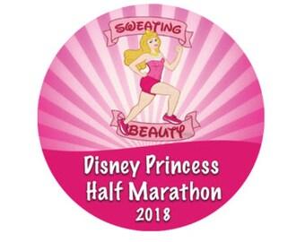 Sweating Beauty Princess Half Marathon Race - Run Disney - Theme Park Button - Sleeping Beauty Button - Race Button