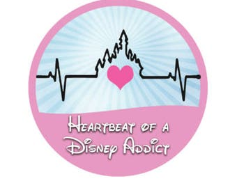 Heartbeat of a Disney Addict Button - Disney Heart Button - Disney Inspired Button - Castle Button - Theme Park Button - Disney Button