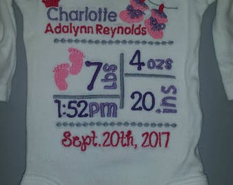 Birth Announcement Onesie.  For a Girl or Boy