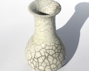 Small White Raku Bottle