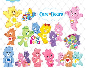 Care Bears Clipart, PNG Clip Art Files, Care Bears Printable Images, Digital Download, Scrapbook, Transparent Background, Blue-005