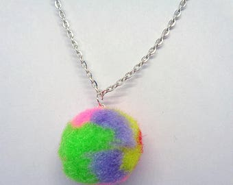 Fluffy Rainbow Pompom Necklace,Pompom Necklace,Pompom Jewelry,Silver Plated Jewelry,Gifts For Her