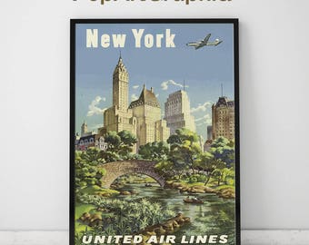 "New York Vintage Poster, New York Travel Print, 11""x17"""