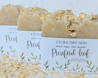 Extra Dry Skin, Handmade Organic  Soap, Natural Soap, Organic Soap, Clean Soap, Soap Bars, Oatmeal Honey Coconut Milk Soap