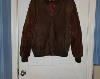 Two-Toned Chocolate Brown Leather Bomber