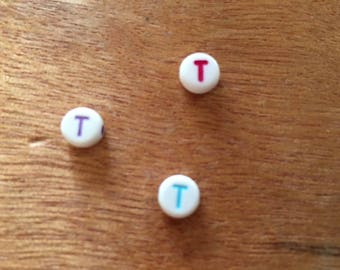 "10 Pearl ""T"" round acrylic 7 mm"