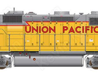 Digital Art Print - EMD GP40 Locomotive - Union Pacific 1488