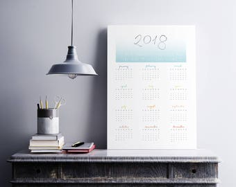 2018 Wall Planner Calendar 2018 Year Planner - Positive Affirmations and Inspiration | Monthly Planner | 2018 wall calendar | unframed