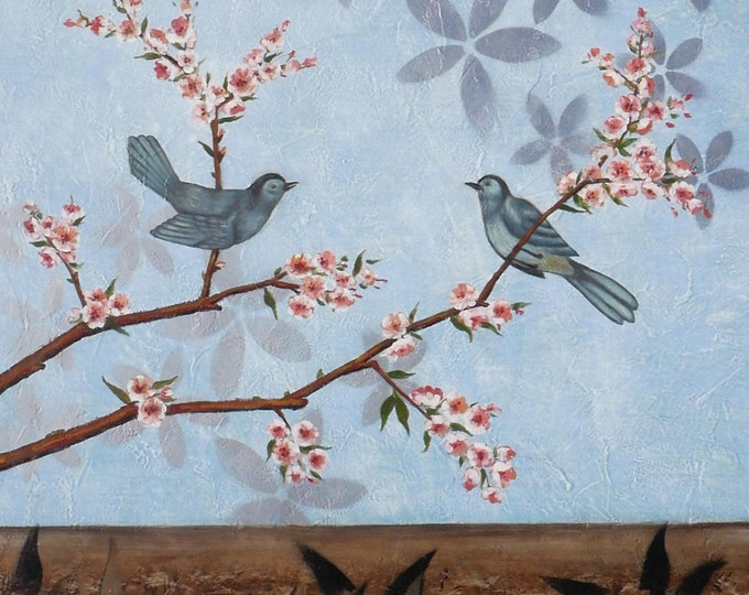 Tree Blossom Art Birds Painting Abstract Oil on Canvas Textured Wall Art Beautiful Decor