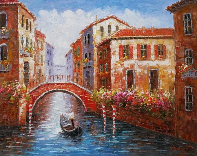 Venice Art Mediterranean Painting Italy Pallet Knife Oil on Canvas  Gondola Wall Art Beautiful Decor