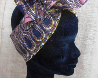 African turban, hard headband for girl and woman, black and pink wax