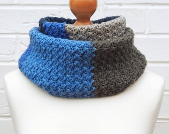 Blue and Gray Winter Infinity Scarf - Circle Crochet Knit Scarf, Caron Cakes, Blue and Grey Warm Cowl Ladies Children Winter Accessories