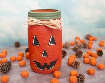Pumpkin Jar, Halloween Decor, Fall Decor
