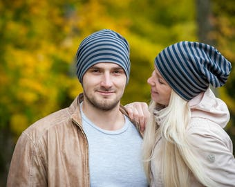 Striped unisex beanie hats Set of 2 hats Matching couple beanie hats Adult scull hat Men's slouchy beanie hat Women's slouchy jersey beanie