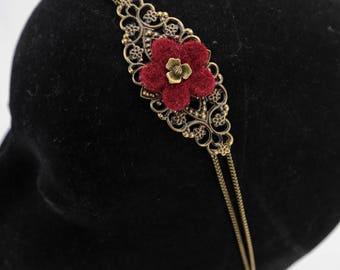 Vintage Fleur Bordeaux and brass #1173 headband