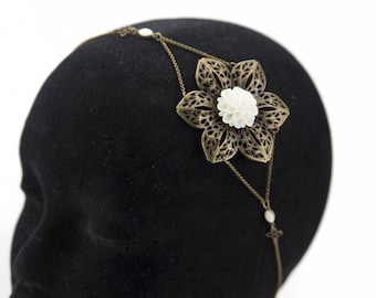 Vintage white wedding flower #1417 headband headband