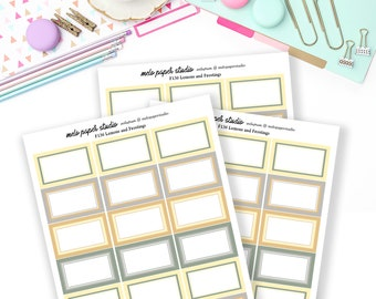 F136 Lemon and Frosting Half Boxes - Functional Stickers Add on Planner Stickers A la Carte