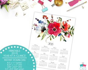 Year-at-a-Glance 2019 | Forest Florals | Flowers | Digital | Instant Download | Printable