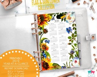 Printable Calendar A5 A4 Letter Watercolor Planners 2019 Year at a Glance | Flax and Sunflower Floral Collection | FSCYG19