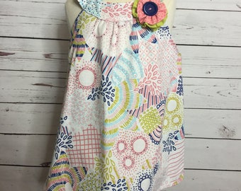 Round yoke dress, size 18-24 months. One of a kind dress with handmade flower embellishment.