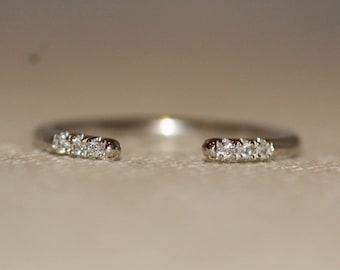 Big Sale - diamond cuff ring, 14k open ring, cuff ring, 14k gold open cuff ring, diamond open cuff ring gold, Stacking open cuff ring