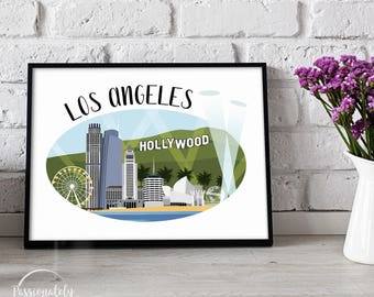 Los Angeles Skyline Illustration - LA Illustration - Wall Art - Digital Download