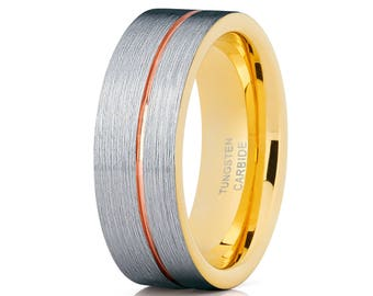 Tungsten Carbide Ring Yellow Gold Tungsten Ring Men & Women Rose Gold Tungsten Wedding Band Women's Wedding Band Brush