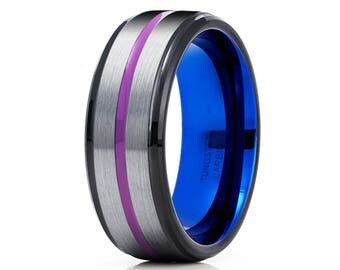 Gray Tungsten Wedding Band Purple Tungsten Carbide Ring Men & Women Black Tungsten Ring Comfort Fit Ring Blue Tungsten Band