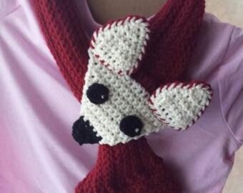 Cute fox scarf, Fox scarf, Kid's scarf, Animal scarf