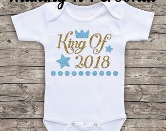 Baby Boys Personalised Bodysuit King Of 2018