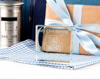 Personalised Christening Jade Glass Block - Engraved Glass Block, Personalised Gifts, Christening Gifts, Gifts for Babies.