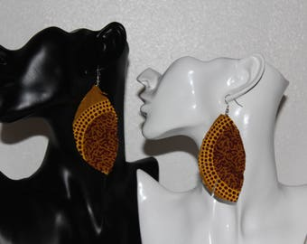 Earrings, Feather style earrings, leaf earrings, African fabric earrings, ankara earrings