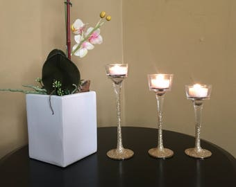Gold Glitter Tealight Candle Holders (3-Piece Set)