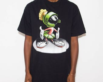 Marvin The Martian, Tumblr Shirt, Looney Tunes, Graphic Tee, Streetwear, Vintage Looney Tunes, Warner Bros, Cartoon, Vintage Tshirt, Black