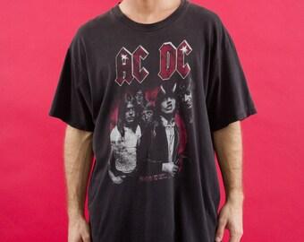 ACDC, Music, Band Tshirt, Merch, Black, Festival, Tour Tshirt, Guitar, Angus Young, 90s, Rock Tshirt, 90s Clothes, Thunderstruck, 90s Tshirt