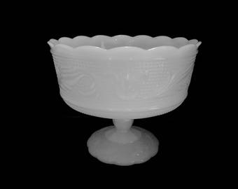 Milk Glass Pedestal Bowl Candy Dish Fruit Bowl with Scalloped Edges circa 1960s, footed