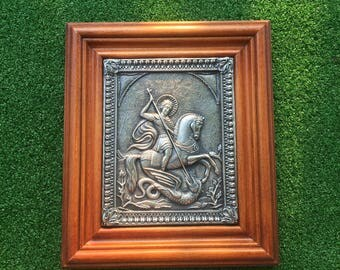Icon of Saint George the Victorious Made with Copper and Silvered and set into a Wooden Frame - Recycled Metals