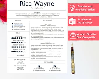 Creative resume template- .doc Word format-  Instant download 1-page and 2-page CV template - With Cover Letter- Printable CV clean design