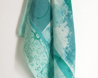 Cornish Abstract hand printed small silk square scarf aqua and green