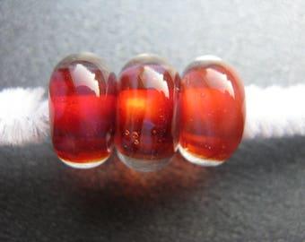 BORO Lampwork Trio, Borosilicate Lampwork Set of 3, Handmade Lampwork Beads, OOAK, Garnet, Red, Purple, Coral, Lilac, Artisan Beads- HGD1523