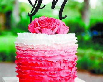 Wedding Cake Topper Letter M Cake Topper Personalized Wedding Cake Topper Gold Monogram Cake Topper Letter A B C D E F G H J K L M N O P Q W