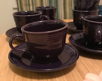 Vintage Fiestaware 11 peices of Tea/Coffee Cups And Saucers