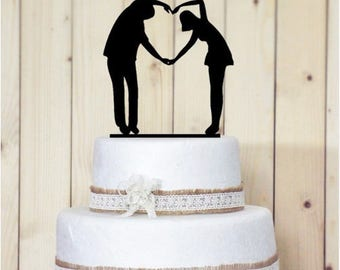 Heart shaped couple cake Topper