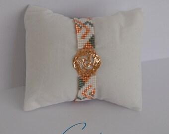 Bracelet woven Rosefield beads Miyuki - Golden beads pink, white, grey